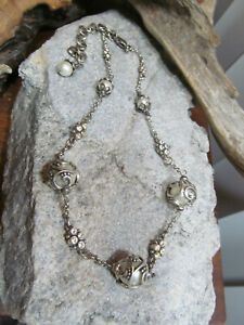 Beautiful BRIGHTON Retired Caged Filigree White Pearl Linked Chain necklace 32g