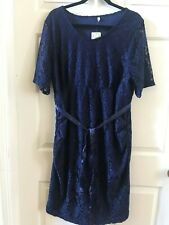 Planet Motherhood 3X Plus Maternity Navy Blue Lace Dress with Bow Belt NWT $60