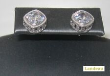 3.8 ct White CZ Tourmaline Cushion Silver Earrings