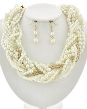 Braided Twist Multi Row Cream Pearl Necklace Set Statement Fashion Jewelry