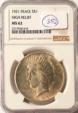 1921 $1 Peace Silver Dollar High Relief NGC MS-62