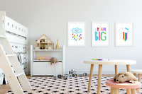 Set of 3 Nursery Prints Set Raindrops / Dream Big / Rainbow - Prints For Bedroom