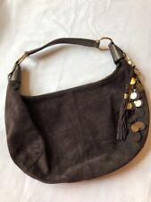 FRANCO SARTO Rich Brown Suede Leather Hobo Handbag w/ Tassel Charm Keychain