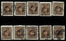 Canada #O250(2) PERFIN 2 cent brown GEORGE VI OFFICIAL O.H.M.S. 10 Used