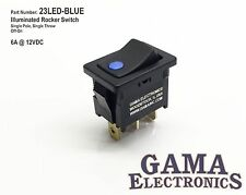 Mini 10 Amp Single Pole Off-On Rocker Switch with Blue 12V Illumination
