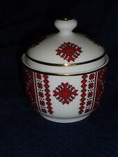 "4.5"" porcelain decorative gold trimmed TRINKET BOX/JAR container  w/Lid Germany"
