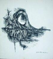 THOMAS HOLSTEIN (XX) -  Federzeichnung 1976:  ABSTRAKTES GRUSEL-GEBILDE MIT AUGE