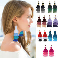 Neon Tiered Long Tassel Earrings for Women 4 Layered Fringe Stones Earrings