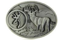Vintage Buck Hunting Deer Hunter Antique Silver Color Western Belt Buckle
