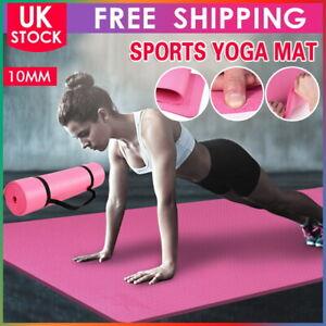 Extra Thick Yoga Mat 10mm Non Slip Exercise Pilates Gym Picnic Camping Strap Bag