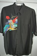 Dino Baldini Mens Large Uber Modern Abstract Floral on Black Silk Italy/Cool