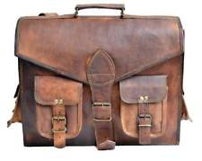 New Men's Leather Bag carry on Messenger Laptop Shoulder Briefcase Handbag Brown