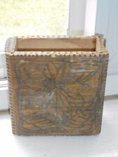 Antique Handcarved Wood Trinket Cards Box 1910 Engraved Floral Decor Collectible