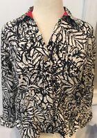 Coldwater Creek womens geometric floral blazer/jacket, SZ M Black White