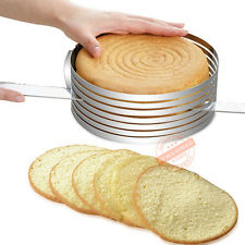 Adjustable Round Baking Steel DIY Mousse Cake Ring Mold Layer Slicer Cutter GW