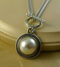 HALF PEARL Stainless steel double chain snap button Necklace women jewelry