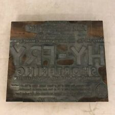 Printing plate - Hy-Fry Shortening Henry Lee Co. Miami, FL