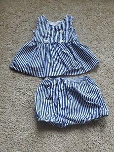 Ralph Lauren Blue And White Striped Dress 12M
