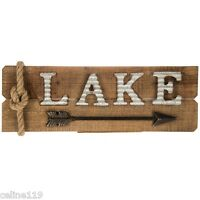 "Lake House Rustic Country Metal Arrow Wood Wall Decor 24"" X 8"" Sign Plaque NEW"