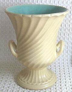 "Vintage RUMRILL 7"" Vase 2 Handles Pedestal Base Cream & Blue Green 644 Redwing"