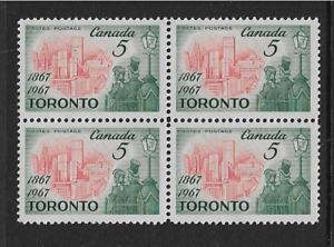1967 CANADA - CENTENARY OF TORONTO - BLOCK OF FOUR -  MNH. - SG. 617.