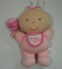 toys r us Little Love Soft Pink Baby Doll Rattle Bald Baby T5