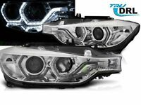 Projector Headlights with LED DRL Angel Eyes BMW F30 F31 2011-2015 Chrome LHD LP