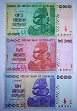 3 Zimbabwe banknotes-1 x 1, 5 & 10 Billion dollars -paper money currency