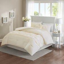 5 Piece Comforter Set King Ivory Victorian Tufted Pattern Home Bedroom Decor