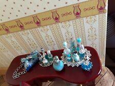 Turquoise & Silver Perfume Bottles Purse Vanity Trays bedroom dresser Dollhouse