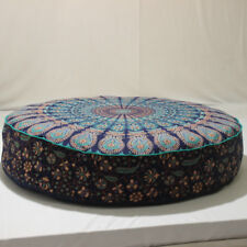 "32X6"" Blue Mandala Pillow Meditation Cushion Pouffe Covers Ottoman Seat Cover"