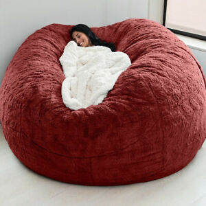 7ft Cover Big Round Soft Fur Bean Bag Portable Sofa Bed Bag Luxury Living Room