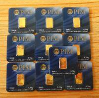10x Goldbarren je 0,10 Gramm PIM / Gold Barren 0,1g 1g / Geschenk Weihnachten
