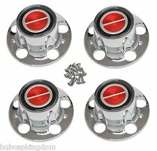 BRONCO II RANGER EXPLORER Wheel Chrome Center Hub Cap RED NEW Set of 4 w/ SCREWS
