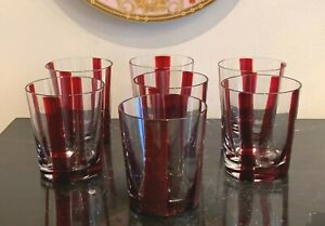 Mid Century Modern Hand Blown Glass Ruby Red Stripes Tumblers
