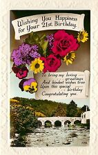 Colorful Tinted Real Photo Postcard; 21st Birthday Greetings Flowers & Bridge UK