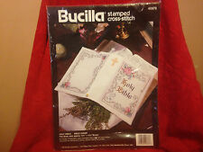 """Bucilla Stamped Cross Stitch """"Holy Bible"""" 40876 Bible Cover Kit NIP Dated 1994"""
