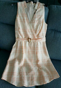 Cue Linen Champagne and Peach Check belted dress size 10 - (RRP $279)