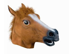 Funny Animal Costume Horse Head Mask Latex Adult Fancy Dress Stag Hen UK Seller