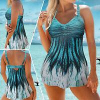 Plus Size Women Push-up Tankini Bikini Swimdress Swimwear Bathing Suit Swimsuit