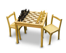 """3 in 1 WOODEN CHESS CHECKER BACKGAMMON TABLE Complete Set with 4"""" King 27"""" Tall"""