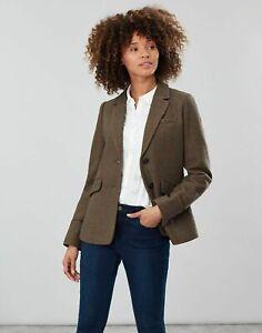 Joules Womens Langley Short Blazer in GREEN TWEED Size UK 14