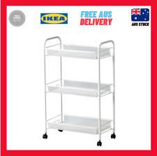IKEA Hornavan 3 Tiers Steel Kitchen Bathroom Trolley Castors 26x48x77cm White