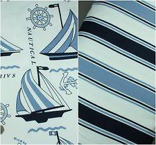 100% Pure Cotton CANVAS fabric Medium weight 150cm wide Nautical Stripe