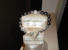 "MEN'S HANDMADE 8 1/2"" 10 MM BLACK HEMATITE BEADED BRACELET"
