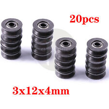 20Pc V Groove 3x12x4mm Round Bearing Steel Wheel Pulley Bearing Roller High Q