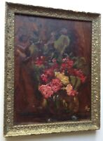 19th Century French Impressionist Oil Painting Bouquet Roses Henri Fantin Latour