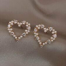 Fashion Women Crystal Pearl Earrings Hollow Heart Ear Stud Drop Dangle Wedding