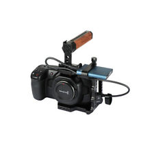 CAMVATE BMPCC 4K Camera Cage with SSD T5 Mobile Hard Drive Clamp Wood Top Handle