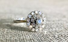1.25 Ct Round Cut Diamond Halo Cluster Style 14K White Gold Over Engagement Ring